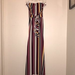 Striped strapless maxi dress with waist tie